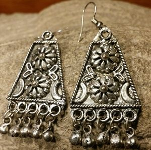 Sterling Silver Boho Gypsy Belly Dancer Earrings